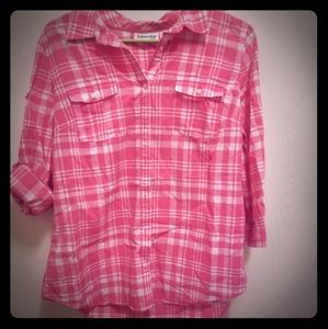 St. John's Bay pink plaid button up